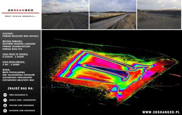 Pomiary objętości mas popiołu – skanowanie laserowe