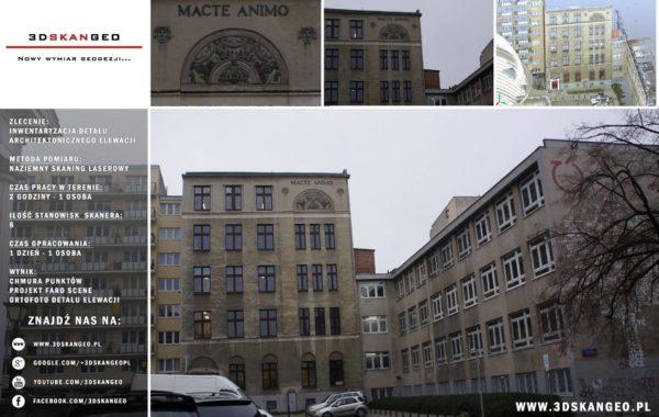 Inwentaryzacja detalu architektonicznego elewacji