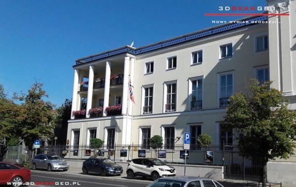 Skanowanie laserowe 3D Ambasady Norwegii w Warszawie