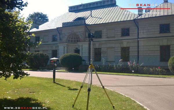 Inwentaryzacja zabytkowego pałacu metodą naziemnego skanowania laserowego 3D .